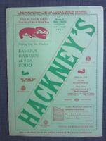 1950s Hackney's Restaurant  Menu, Atlantic, N.J
