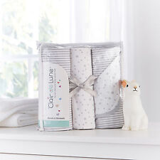 CLAIR DE LUNE GREY STARS STRIPES MOSES BASKET BEDDING SHEETS & BLANKET GIFT SET
