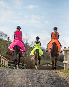WATERPROOF Hi Viz Vis Reflective Horse Exercise Sheet - Yellow Orange Pink