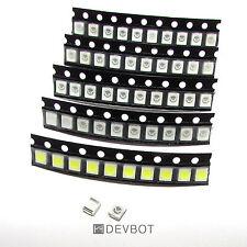 Kit 50 LED SMD 3528 - 10 x 5 couleurs: blanc, bleu, jaune, rouge, vert. CMS, DIY