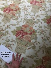 10.8M ACQUITAINE VICARIO FLORAL LINEN FABRIC CURTAIN ENGLISH COUNTRY PERIODPRINT