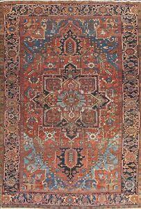 MEMORIAL DEAL Antique Geometric Heriz Area Rug Hand-knotted Oriental Carpet 8x11