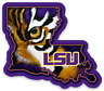 LSU State Outline with Tiger Face Mascot and logo Type Magnet