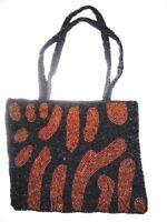 Vintage Beaded Cocktail Handbag Black Bronze Snap Closure