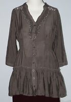 ANTILIA FEMME Size M Brown Button Down 3/4 Sleeves Smocked Lace Accent Blouse