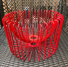 Midcentury Modern Large Red Metal Bowl