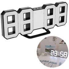 3D LED Moderne Digital Alarm Wanduhr 24 / 12Hr Tischuhr Wecker mit Snooze Timer