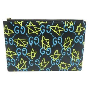 Auth Gucci Clutch Bag Calfskin Leather Black Yellow Blue 0846