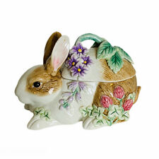 Fitz & Floyd Easter Bunny Floral Botanical Lidded Box Vintage Early 2000's
