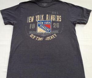 Mens Old Time Hockey blue gray NY New York RANGERS 1926 t-shirt shirt M
