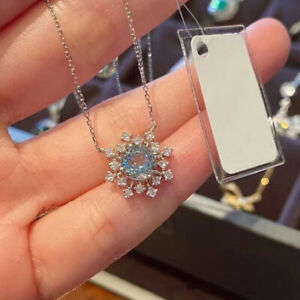 Fashion 925 Silver Blue Zircon Snowflake Pendant Necklace Chain Women Jewelry