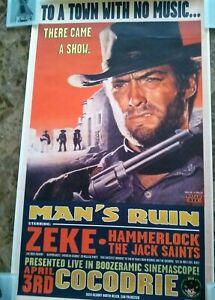 Zeke Hammerlock 1998 Man's Ruin Concert Silkscreen Poster By Frank Kozik S/N