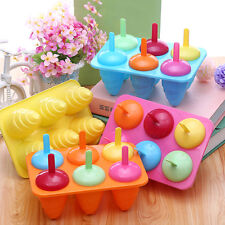 DIY 6 Cell Frozen Ice Lolly Cream Maker Pop Mould Popsicle Yogurt Ice box New.