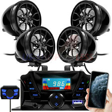 Bluetooth Motorcycle Stereo 4 Speakers Handlebar Audio System AUX USB FM Radio