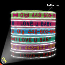 Reflective Embroidered Personalised Dog Collar Soft Flush Padded Warm Pet Collar