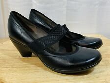Privo by Clarks Women's size 8 Black Leather Mary Janes Heels Comfort NEW S8