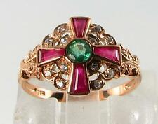 UNUSUAL ROSE GOLD 9CT INDIAN RUBY EMERALD & DIAMOND RING FREE RESIZE