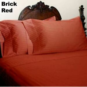 Brick Red Striped Queen 4pc Bed Sheet Set 1000 Thread Count 100% Egyptian Cotton