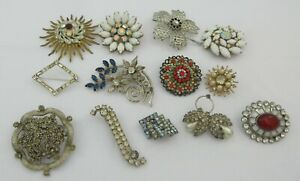 Mixed Lot Gold Silver Tone Rhinestone Floral Brooches