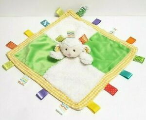 "Taggies Security Blanket Plush Lamb Lovey Gingham Edge Satin Back 12.5"" x 12.5"""