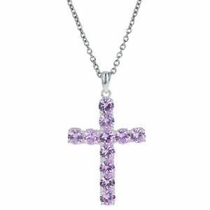 "Silver & Stainless Steel Synthetic Sapphire Pendant Necklace 20"" 4.40ctw Cross"