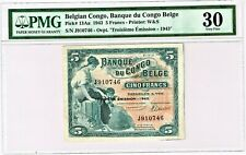 Belgian Congo: 1943 5 Francs. Pick# 13Aa. PMG graded Very Fine 30, erasure.