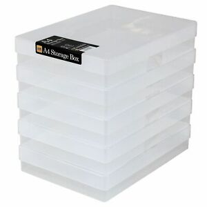 Pack Of 5  Clear Plastic A4 Storage Boxes