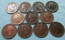 Lot of 11 Canada Queen Victoria One Cent Large Cent Old Bronze Coins 1859-1901