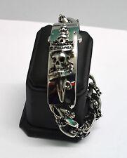Bracelet Gourmette acier inox tête de mort épée ,biker,Harley,custom