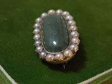 Yellow Gold Brooch 'C' clasp 11d 74 Victorian Antique Green Jade Nat. Pearl 15k