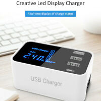 Quick Charge Type C Charger Led Display Wall Charger 3 Port USB Adapter Station