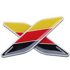 2 x German Germany Alloy Flag Emblem Badge Car Sticker Grille Decal Universal UK