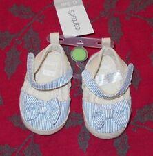 "Carter's Baby Girls~SZ 0/3 Months Stripe Crib Shoes Soft Bottoms 4.25"" NWT $20"