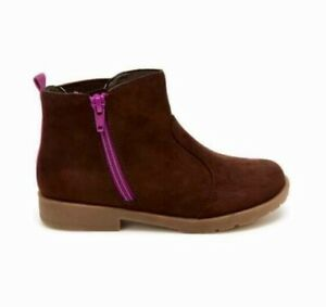 """stride rite girls chocolate-brown """"suede"""" Lucy boots with zipper size 12 wide"""