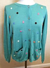 Green Carlisle Polka Dot 100% Silk Cardigan Sweater J
