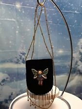 MINI Black Velvet Pouch purse with Beaded winged Fairy Bead Strap and fringe