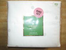 Kate Spade King Sheet Set 100% Cotton Nip Mini Deco Dot White with Grey Dots