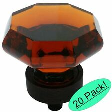 *20 Pack* Cosmas 5268ORB-A Oil Rubbed Bronze & Amber Glass Cabinet Knob