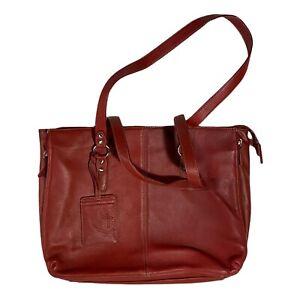Vintage Buxton Leather Briefcase Laptop Shoulder Bag Burgundy Tote