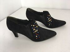 VTG 80s Black Suede Leather Ankle Booties Boots JEWELED BLING SEQUIN Sz 39 ITALY