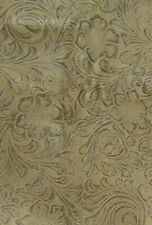 Faux Suede Leather Fabric Brown Embossed Floral Material Upholstery 1.4 Yd x 37