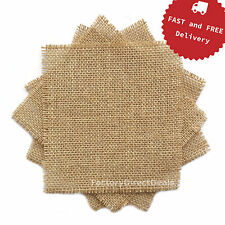 5 pieces (15x15cm) Jute Hessian Burlap Fabric Scraps DIY Craft Sewing Bunting