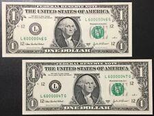 (2) CONSECUTIVE 2003A $1 SUPER FANCY SER# 60000046 To 60000047 SUPERB GEM NEW