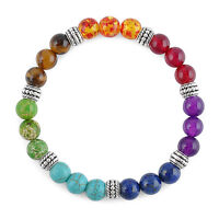 Unisex 7 Chakra Mixed Gemstone beaded Healing Chakra Pray Mala Bracelet Jewelry