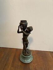 Vintage Andrea by Sadek Bronze Figurine Angel Carrying A Basket