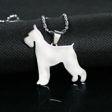 Stainless Steel Cropped Ear Giant Schnauzer Pet Dog Pendant Necklace Miniature