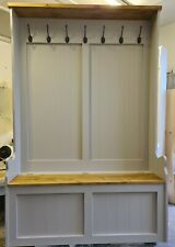 4ft High Back Solid Pine Hall Stand Storage Bench Farrow and ball colour choice