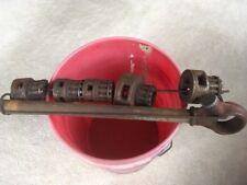 """Vintage Ridgid 00R Pipe Threader With 1/4, 1/2, 5/8, 3/4, 1"""" Dies & Holder"""