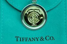 "Tiffany & co. K18Gold & Silver Vintage T&C Circle Pendant with 15.35"" Necklace"