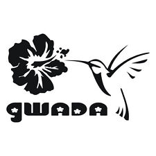 Sticker GWADA COLIBRI - Guadeloupe - Hibiscus - 30cm x 18,5cm